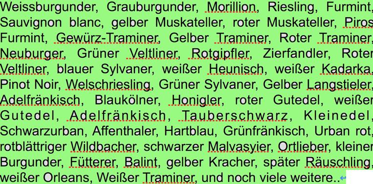 Buchertberg Weiss Rebsorten